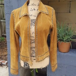 Jim + Marylou tan suede studded jacket